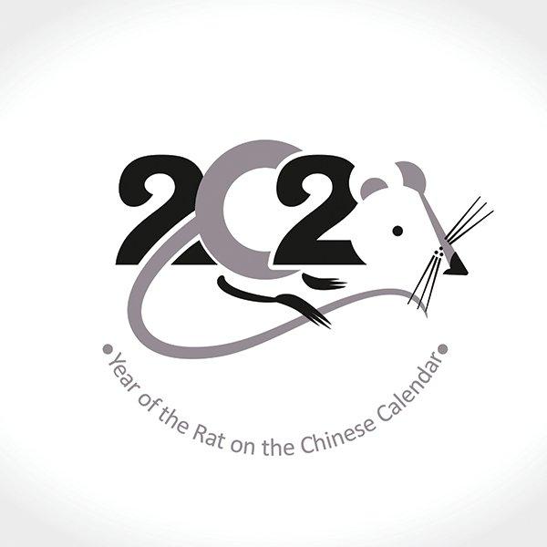 Hình vẽ vector con chuột  thiết kế lịch tết 2020 đẹp